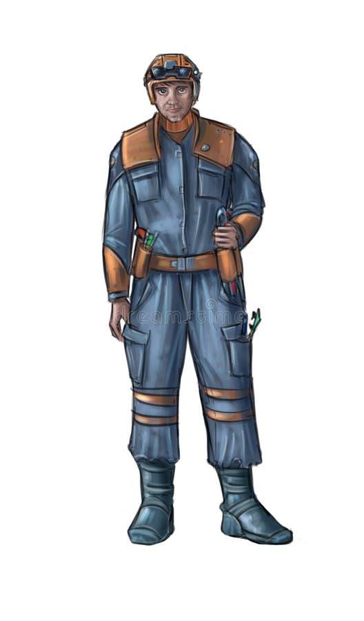 Pojęcie sztuki fantastyka naukowa ilustracja Jest ubranym Pracującego kostium, kombinezony lub Ciężki hełm technik kapeluszu lub  ilustracja wektor