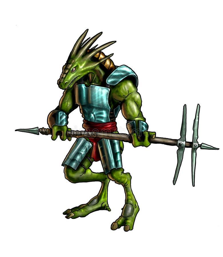 Pojęcie sztuki fantazji obraz jaszczurka wojownik w opancerzeniu royalty ilustracja
