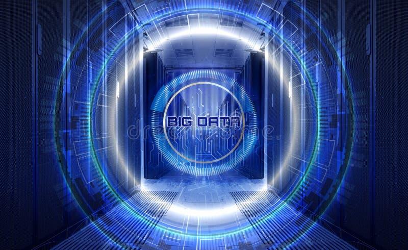 Pojęcie technologie informacyjne i duzi dane Techno tła hologram z płyty głównej citcuit wśród rzędów obrazy royalty free