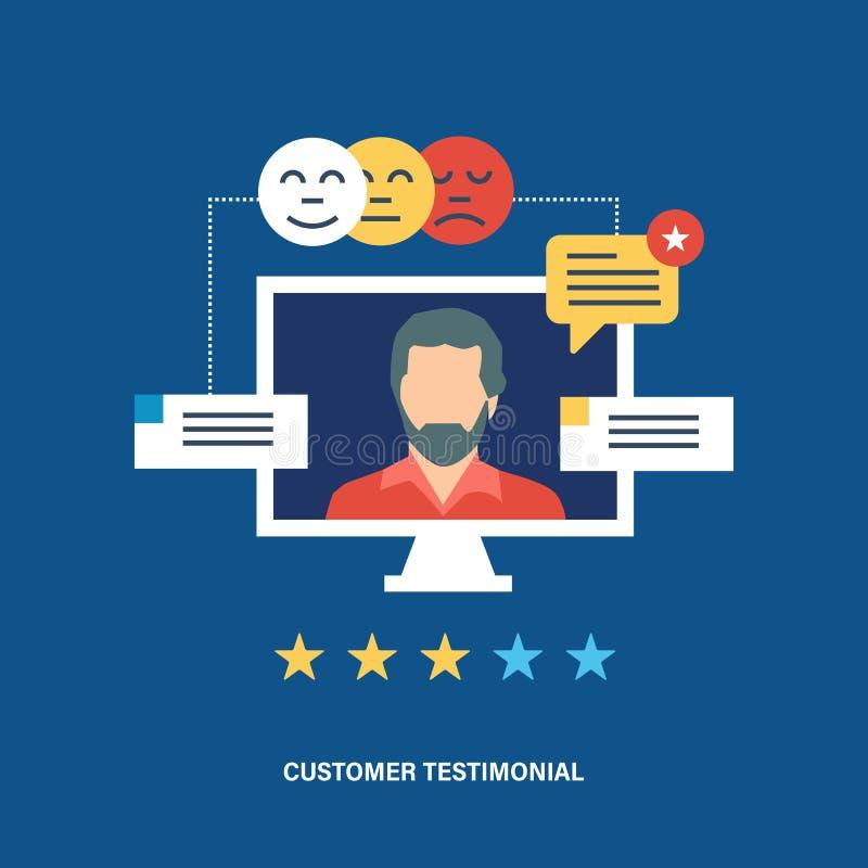 Pojęcie testimonials, biznes, informacje zwrotne, głosowanie i przeglądy klienta, royalty ilustracja