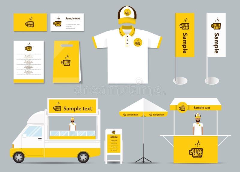 Pojęcie tożsamości korporacyjny oznakuje egzamin próbny w górę szablonu dla sklep z kawą i restauraci Karta menu Polo koszula wek royalty ilustracja