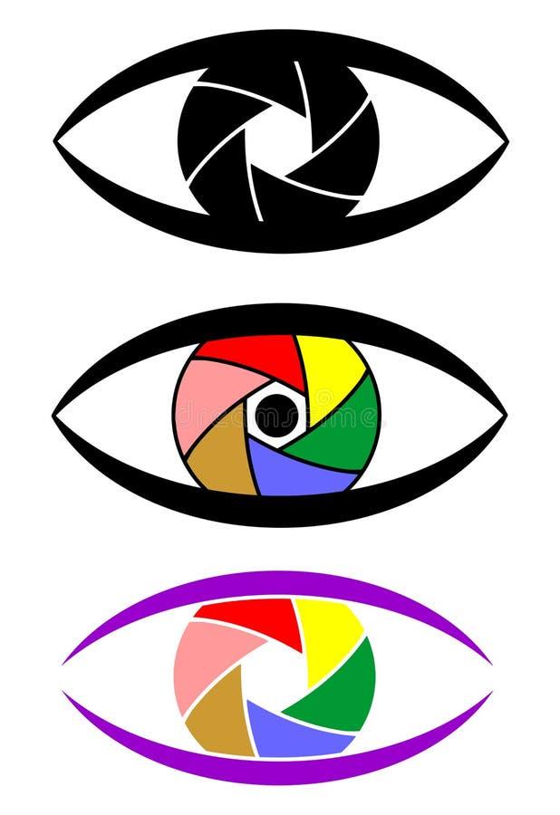 Pojęcie ustalona ikona ono przygląda się jako kamera z kolorową żaluzją royalty ilustracja
