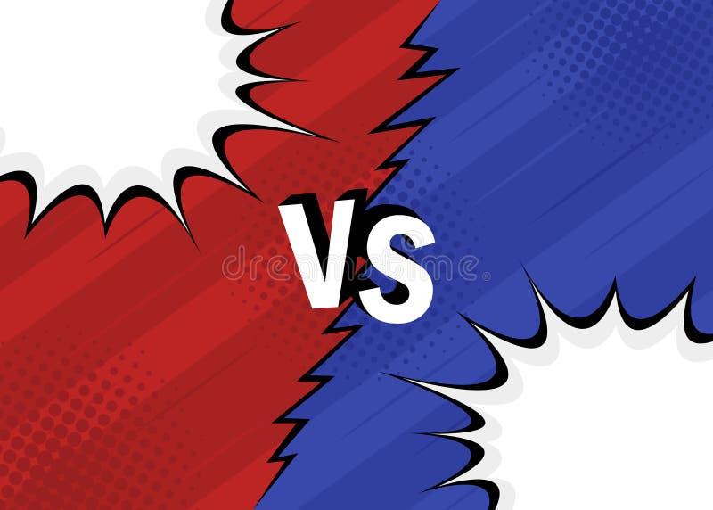 Pojęcie VS versus Walka, czerwień i błękitny retro tło komiczek stylu projekt z halftone, błyskawica ilustracji