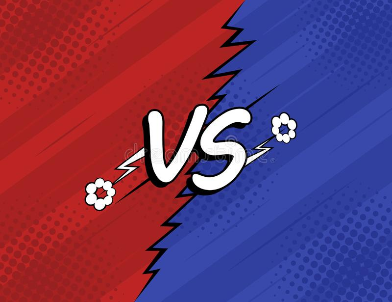 Pojęcie VS versus Walka, czerwień i błękitny retro tło komiczek stylu projekt z halftone, błyskawica royalty ilustracja