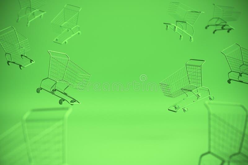 Pojęcie wózek na zakupy tramwaj na zielonym tle z niektóre odbitkową przestrzenią 3 d czynią royalty ilustracja