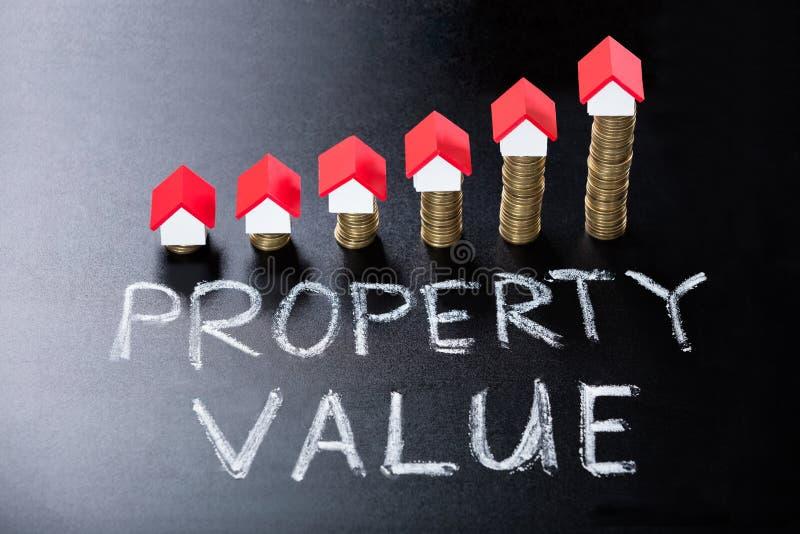 Pojęcie wartość nieruchomości Na Blackboard zdjęcia stock