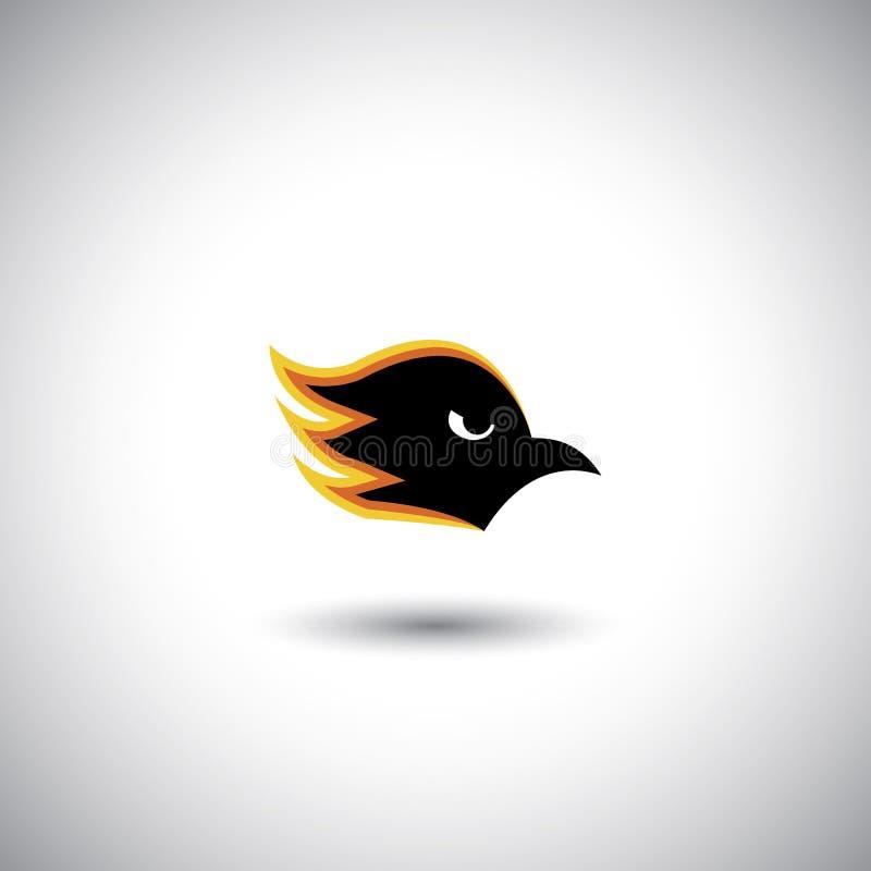 Pojęcie wektor - agresywna orła lub jastrzębia twarz z płomieniami ilustracji