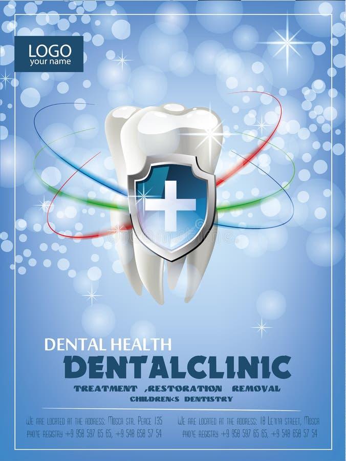 Pojęcie wektorowa realistyczna ilustracja Ząb na błękitnej zieleni iskrzastym tle Fachowy zębów bieleć royalty ilustracja