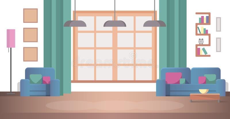 Pojęcie widoku Desing Wewnętrzny Żywy pokój w domu ilustracja wektor
