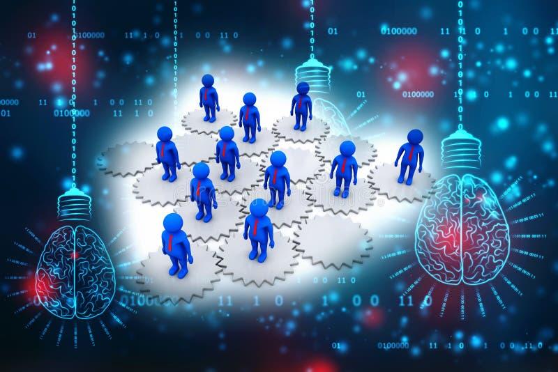 Pojęcie wizerunek reprezentuje sieć, networking, związek 3 d czynią ilustracji