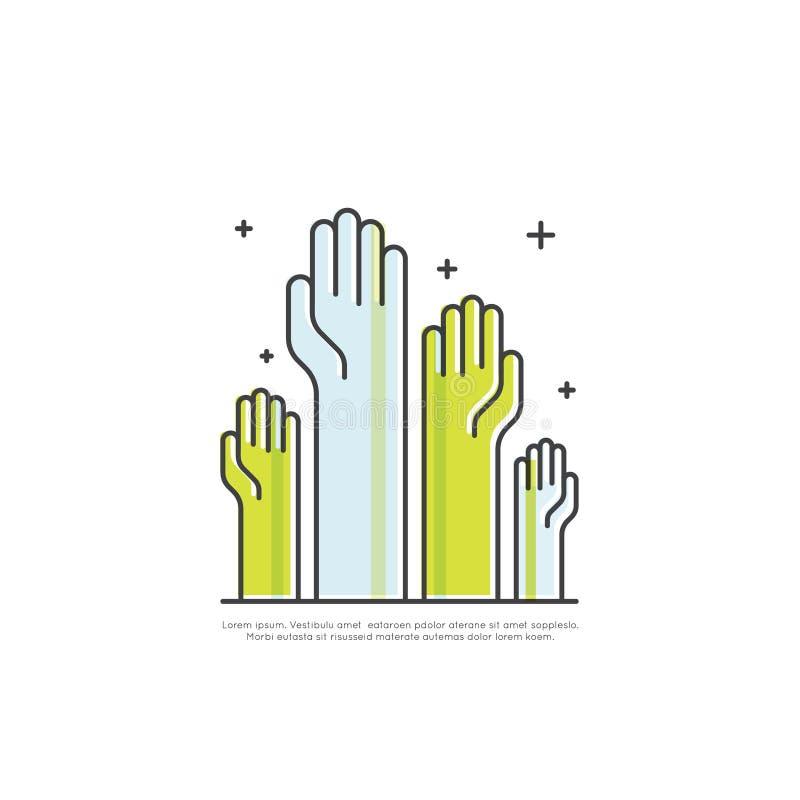 Pojęcie współpraca praca zespołowa, grupa, partnerstwo, Rased ręki, Odosobniony Nowożytny symbol royalty ilustracja
