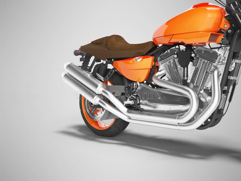 Pojęcie wysokiej prędkości motocyklu dwa pomarańczowe butle 3d odpłacają się na szarym tle z cieniem ilustracji