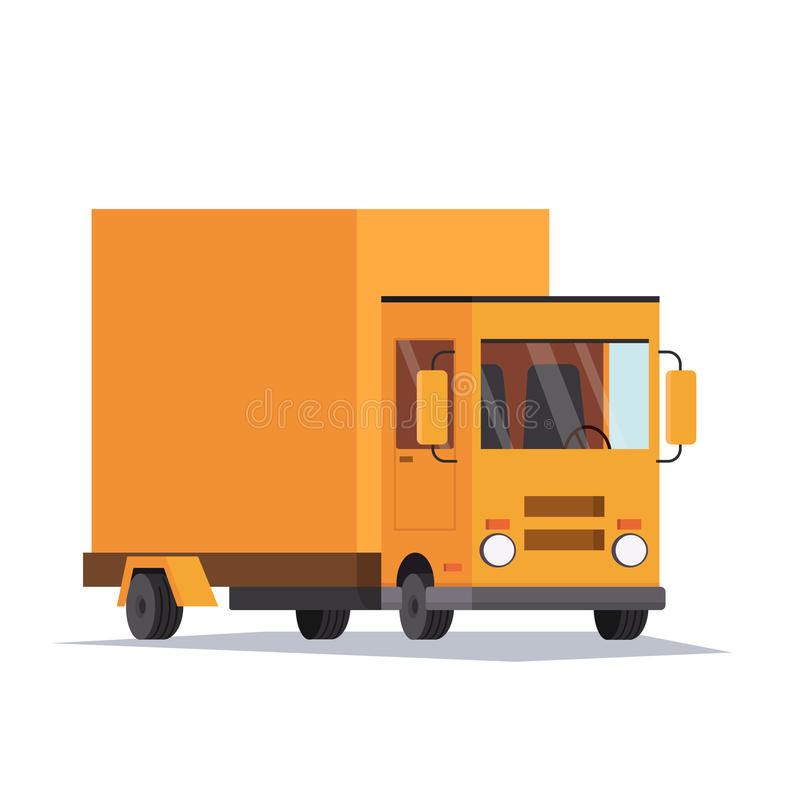 Pojęcie wysyłki usługa Ciężarowy samochód dostawczy doręczeniowe przejażdżki Płaska wektorowa ilustracja ilustracja wektor
