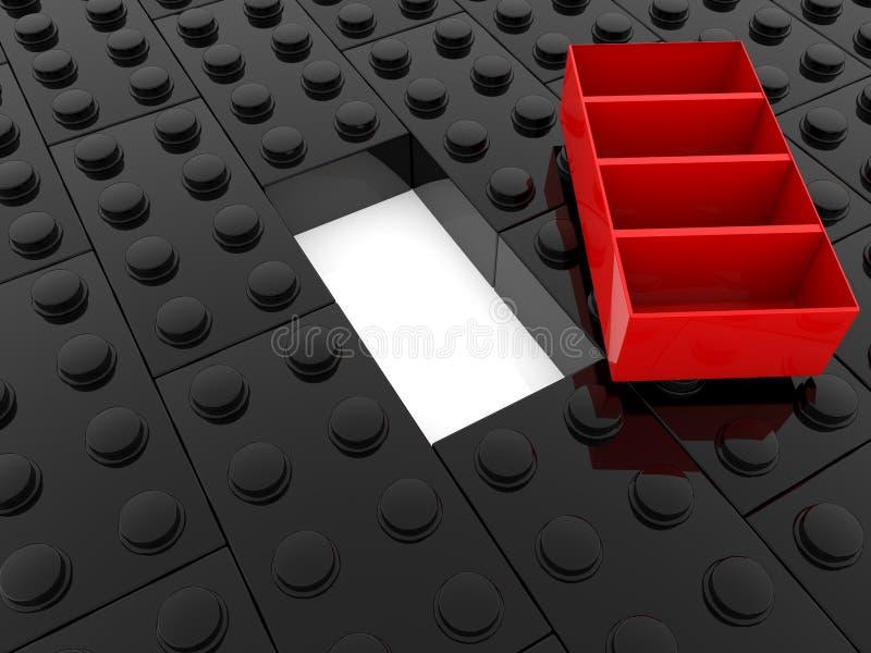 Pojęcie zabawkarskie cegły w czerwieni i czerni ilustracja wektor
