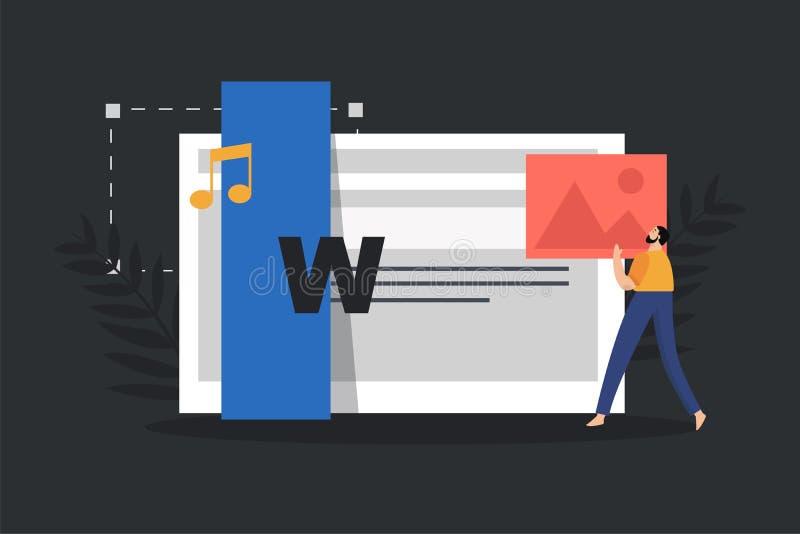 Pojęcie zadowolony tworzyć, blogging, webpage tworzenie i organizacja sieci lub interneta, Strona internetowa wypełnia out z zawa ilustracji
