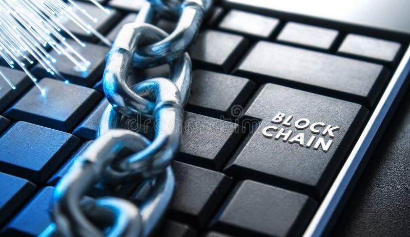 Pojęcie zamknięcie, ochrona Technologii blockchain, utajnianie ruch w internecie obraz stock