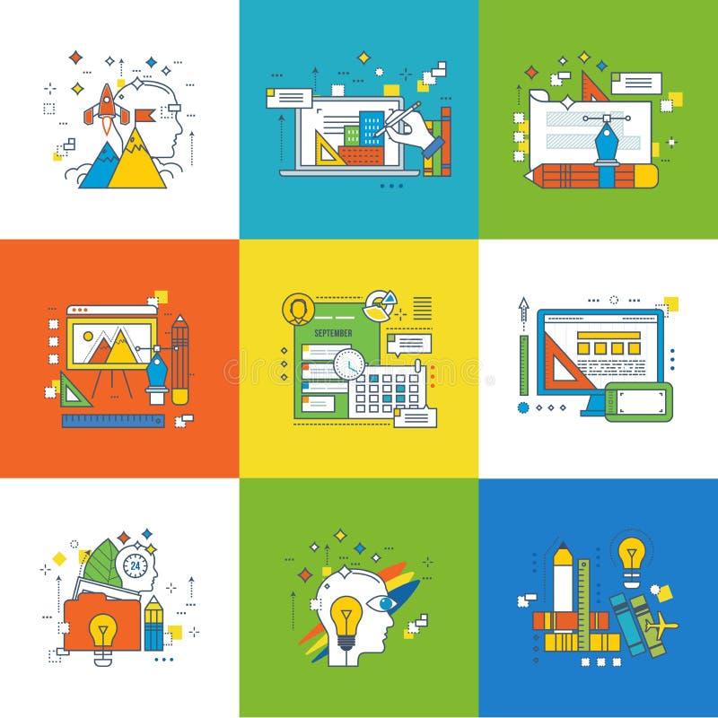 Pojęcie zarządzanie, graficzny projekt, sukces w uczenie i szkolenie, ilustracji