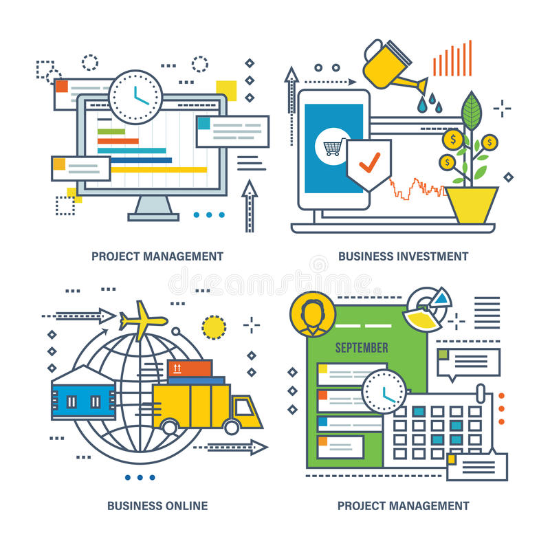 Pojęcie zarządzanie projektem, biznesowa inwestycja ilustracja wektor