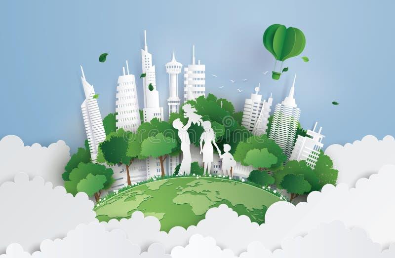 Pojęcie zielony miasto z rodziną ilustracja wektor