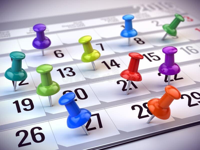 Pojęcie znacząco dzień, przypomnienie, organizatorski czas i rozkład, - czerwony pióra ocechowania dzień miesiąc na kalendarzu royalty ilustracja