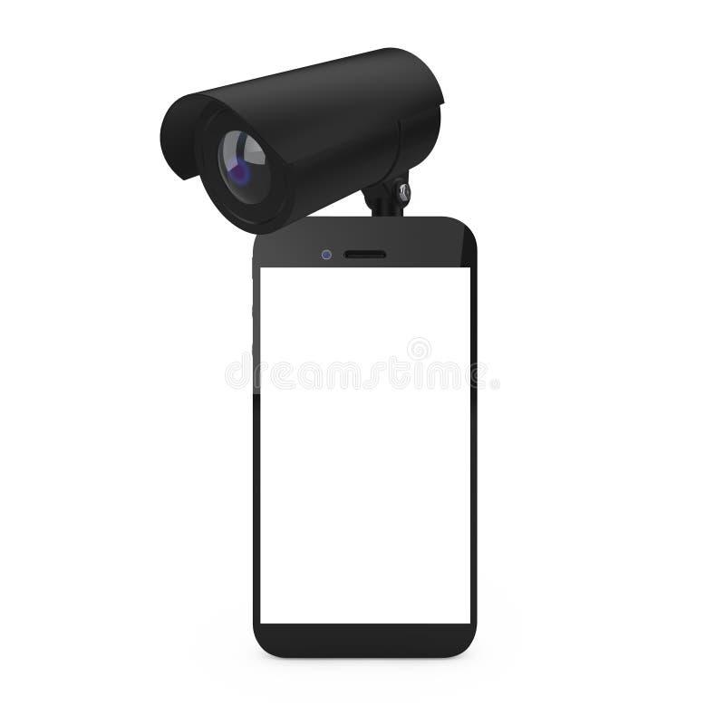 poj?cia ochrony ?rodowisk pojedynczy white Telefon Komórkowy z Pustym ekranem i kamerą bezpieczeństwą ?wiadczenia 3 d ilustracja wektor