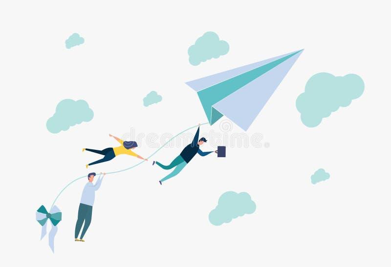 Poj?cie dokonywa? cel Metafora, ludzie trzyma nić od tapetuje samolot, rusza się w kierunku celu ilustracji
