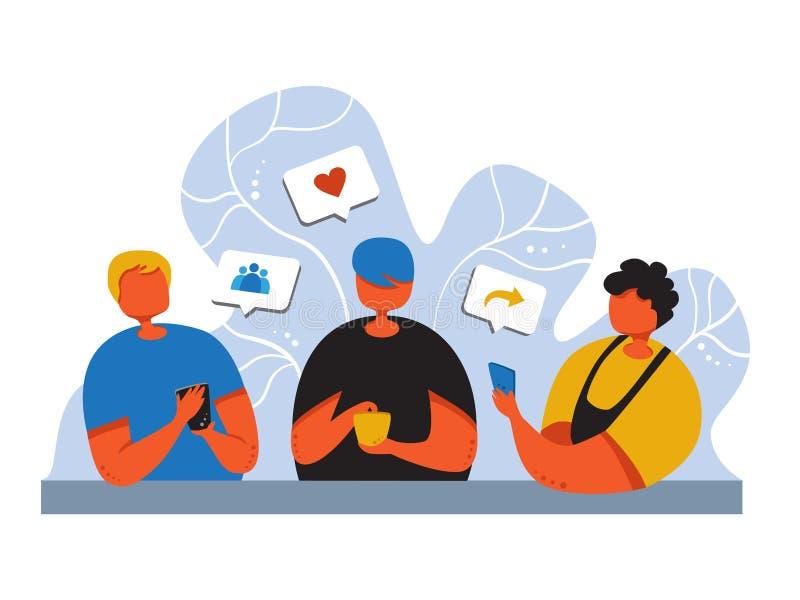 Poj?cie og?lnospo?eczny medialny marketing Promocyjna metoda młodzi ludzie z smartphone jak komentarz, szuka przyjaciół royalty ilustracja