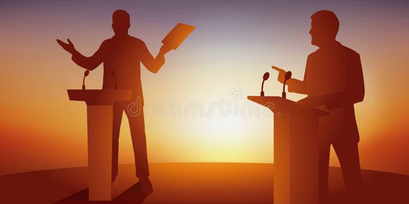 Poj?cie polityczna debata z dwa przeciwnikami kt?re stawa? twarz? w twarz ich program za biurkami royalty ilustracja
