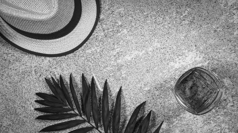 Poj?cie, wakacje, tropikalni kraje, mieszkanie nieatutowy, lato kapelusz, palmowy li??, whisky, wina szk?o, kamienny t?o, kopii p obrazy royalty free
