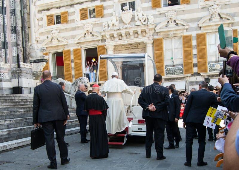 Pojawienie Pope Francis oficjalny przedstawiciel kościół rzymsko-katolicki obraz stock
