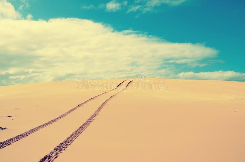 Pojazdów ślada nad daleką, opustoszałą piasek diuną, obraz royalty free