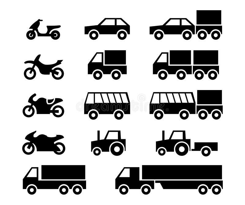 Pojazd mechaniczny ikony set royalty ilustracja
