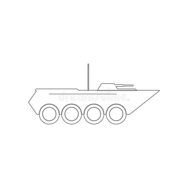 Pojazd pancerny ikona Element wojsko dla mobilnego poj?cia i sieci apps ikony Kontur, cienka kreskowa ikona dla strona internetow royalty ilustracja