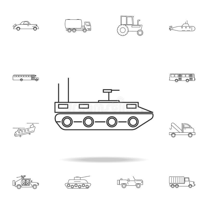 Pojazd pancerny ikona Szczegółowy set przewiezione kontur ikony Premii ilości graficznego projekta ikona Jeden inkasowe ikony fo ilustracji
