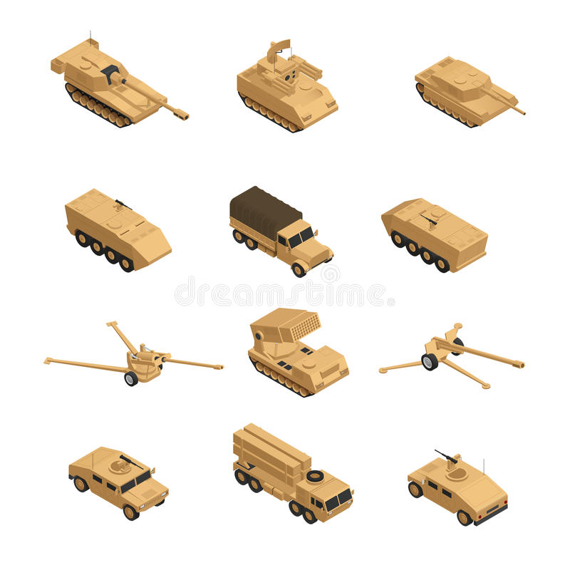 Pojazd Wojskowy ikony Isometric set royalty ilustracja