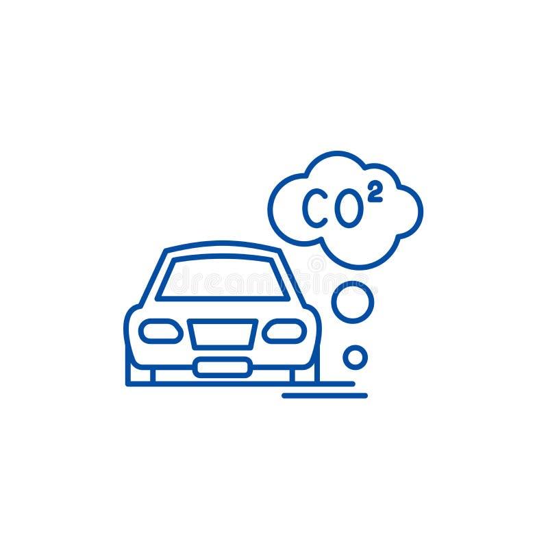 Pojazdu mechanicznego zanieczyszczenia linii ikony pojęcie Pojazdu mechanicznego zanieczyszczenia płaski wektorowy symbol, znak,  royalty ilustracja