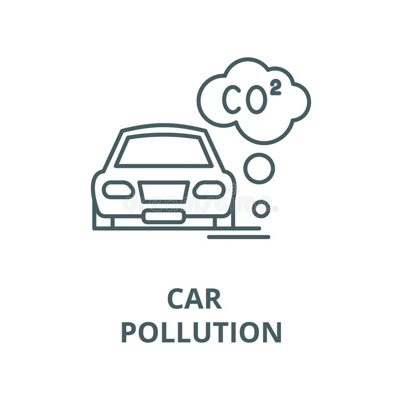 Pojazdu mechanicznego zanieczyszczenia wektoru linii ikona, liniowy pojęcie, konturu znak, symbol royalty ilustracja