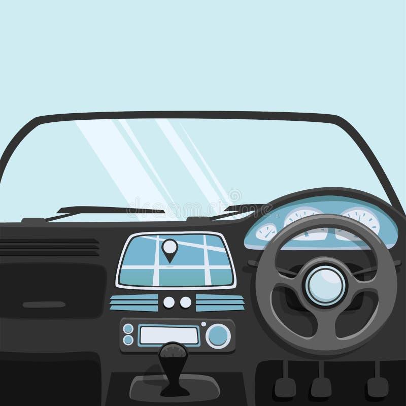 Pojazdu wnętrze Inside samochód chłopiec kreskówka zawodzący ilustracyjny mały wektor royalty ilustracja