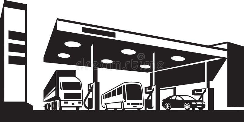 Pojazdy przy benzyny stacją ilustracja wektor