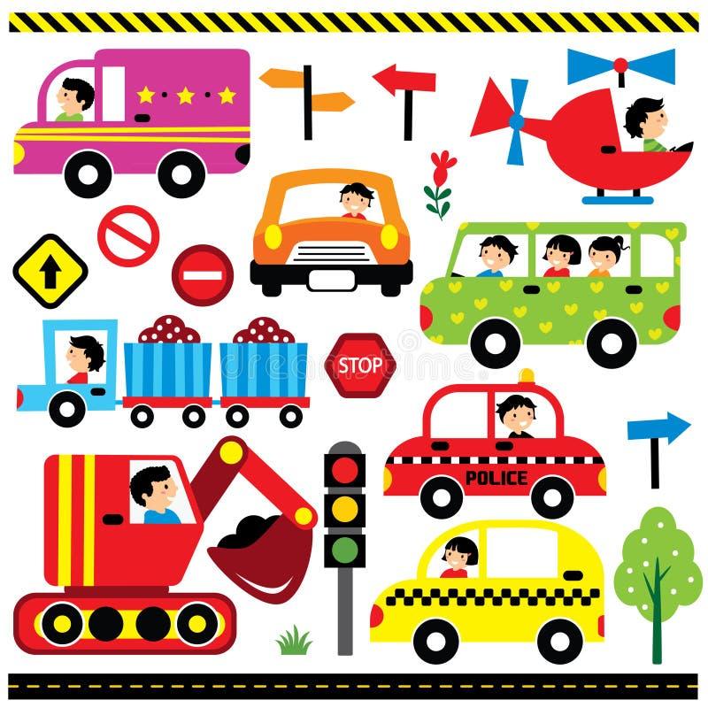 Pojazdy z kierowcą ilustracji