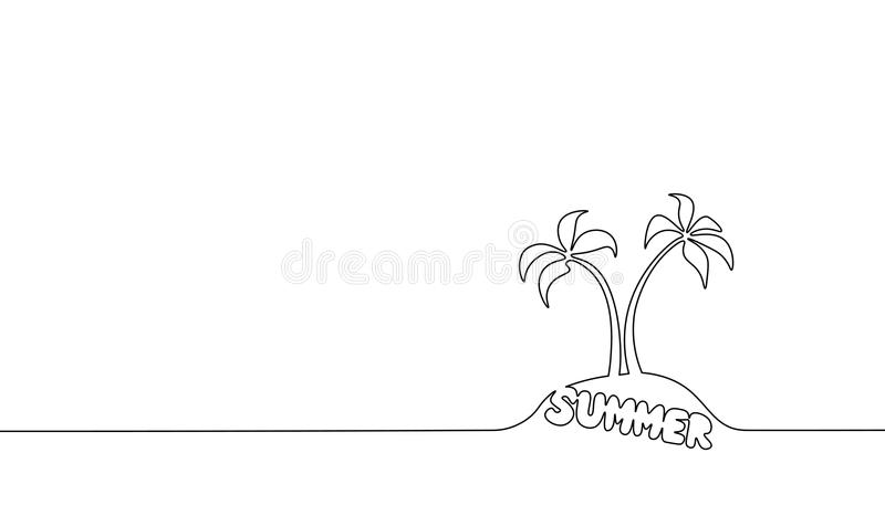Pojedyncza ciągła kreskowej sztuki kokosowego drzewa palma Zwrotnika raju wyspy krajobrazu lata literowania projekta jeden nakreś ilustracja wektor