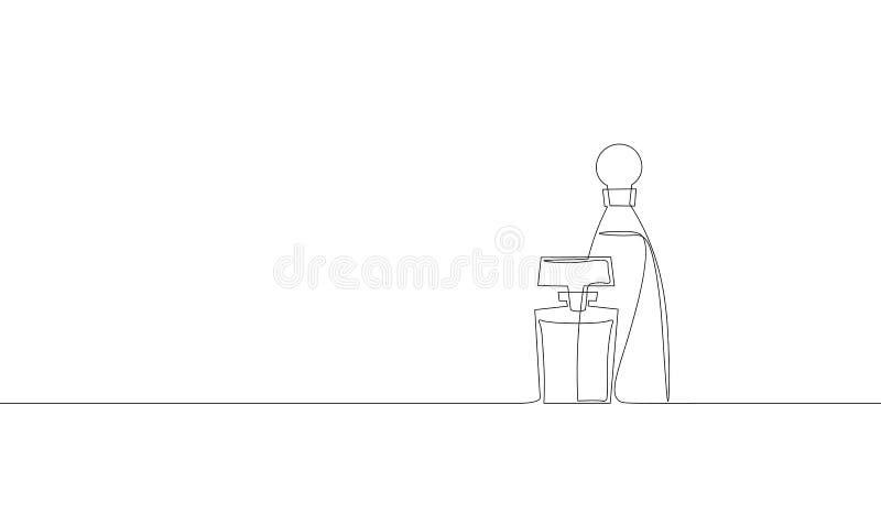 Pojedyncza ciągła kreskowej sztuki pachnidła butelki sylwetka Kobiety woni splendoru symbolu pakunku aromata kiści szklany pojęci royalty ilustracja