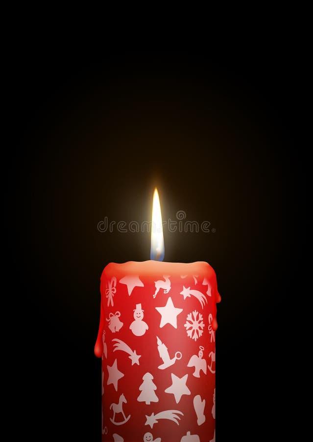 Pojedyncza Czerwona świeczka na Czarnym tle z Bożenarodzeniowym symbolem/Ic ilustracja wektor