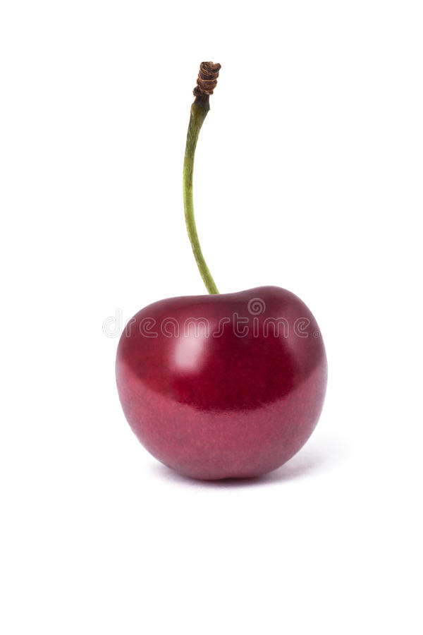 Pojedyncza wiśnia odizolowywająca na białym tle zdjęcie stock