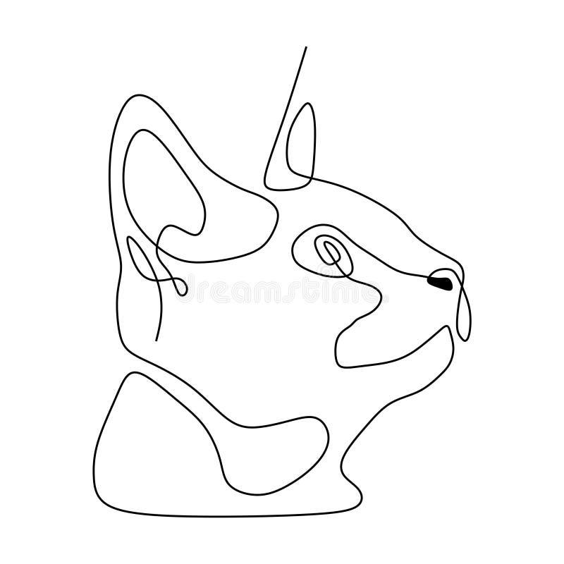 pojedynczej linii figlarki kota głowa ilustracji