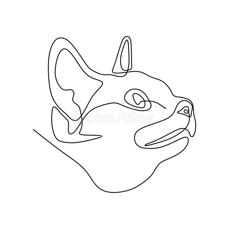 pojedynczej linii figlarki kota głowa royalty ilustracja