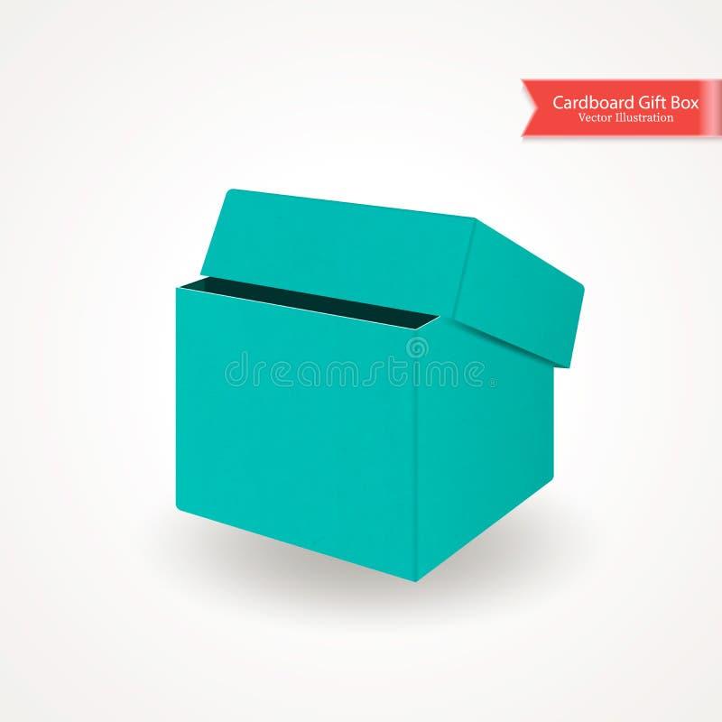 Pojedynczej połówka kartonu otwartej zieleni błękitny pudełko Frontowy widok Pakunek Odizolowywający na Białym tle Realistyczna w royalty ilustracja