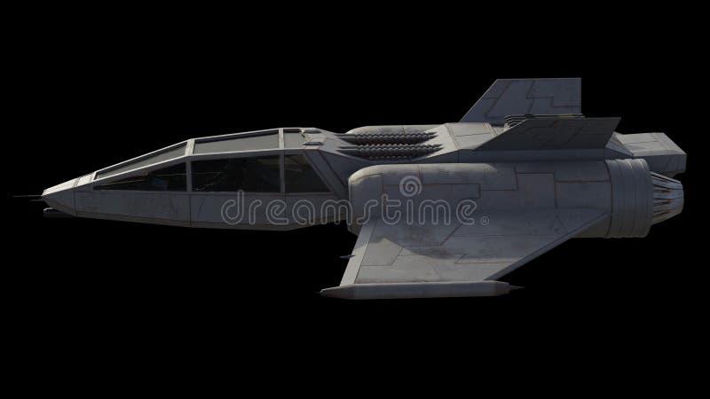Pojedynczej Seater gwiazdy Myśliwski statek kosmiczny, Boczny widok ilustracja wektor