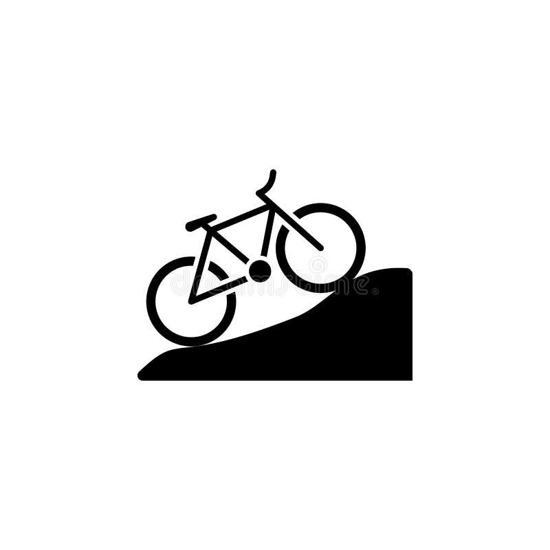 Pojedynczej sylwetki rowerowa halna ikona odizolowywająca w czarnej koloru wektoru ilustracji ilustracji