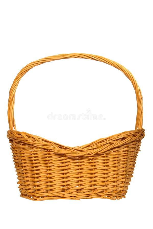 pojedynczy biały wikliny koszyka zdjęcie stock